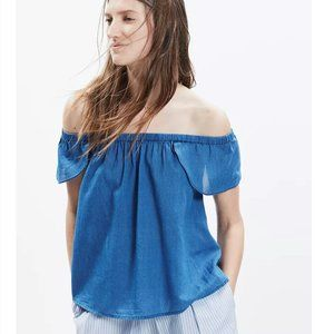 Madewell Indigo Cotton Off-The-Shoulder Top Small